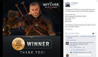 Xin chúc mừng The Witcher 3: Wild Hunt đã giật giải...